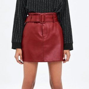 Zara faux leather belted skirt